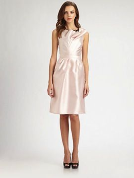 Carmen Marc  Valvo Lace-Trimmed Twill Dress