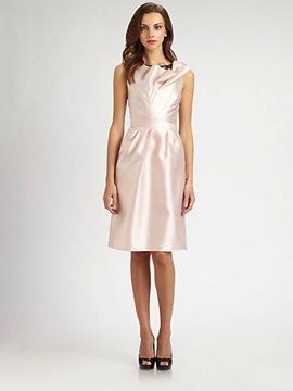 Carmen Marc  Valvo Lace-Trimmed Twill Dress