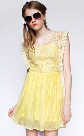 Pixie Market  Pale Yellow Dress