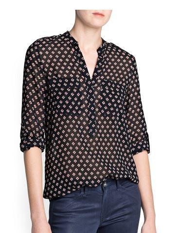 Mango  Flower Print Chiffon Shirt