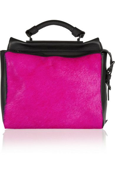 3.1 Phillip Lim  Ryder Small Tow-Tone Leather and Calf Hair Satchel