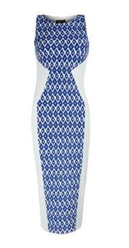 Tokyo Doll  Blue and White Tile Print Midi Dress