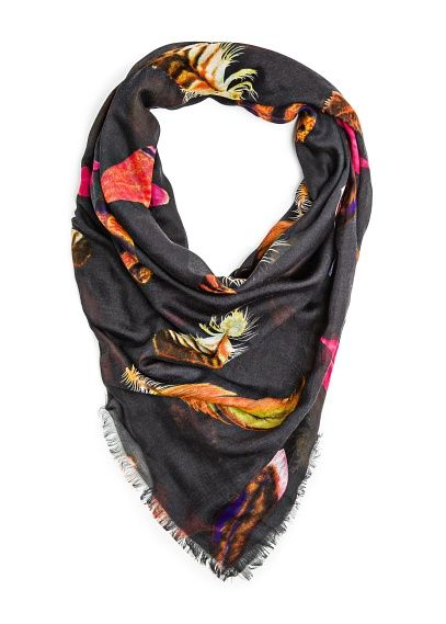Mango  Feather Print Scarf