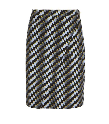 Kenzo Lightning Bolt-Print Stretch-Cotton Drill Pencil Skirt