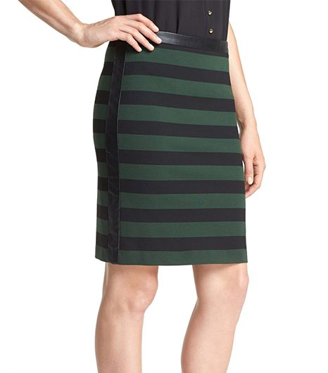 Vince Camuto Faux Leather Trip Stripe Pencil Skirt