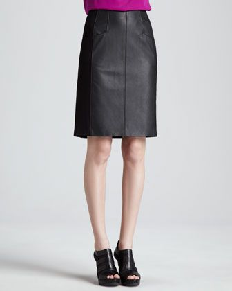 Nanette Lepore Mime Leather Pencil Skirt