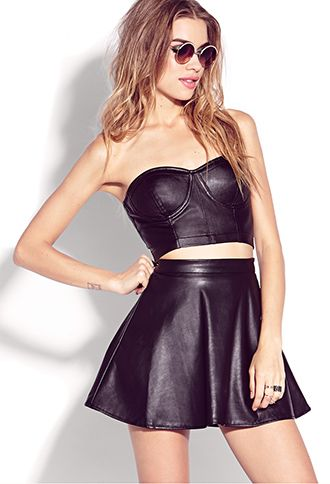 Forever 21 Biker-Chic Faux Leather Bustier