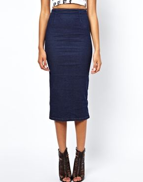 Motel Bronte Pencil Skirt In Stretch Denim
