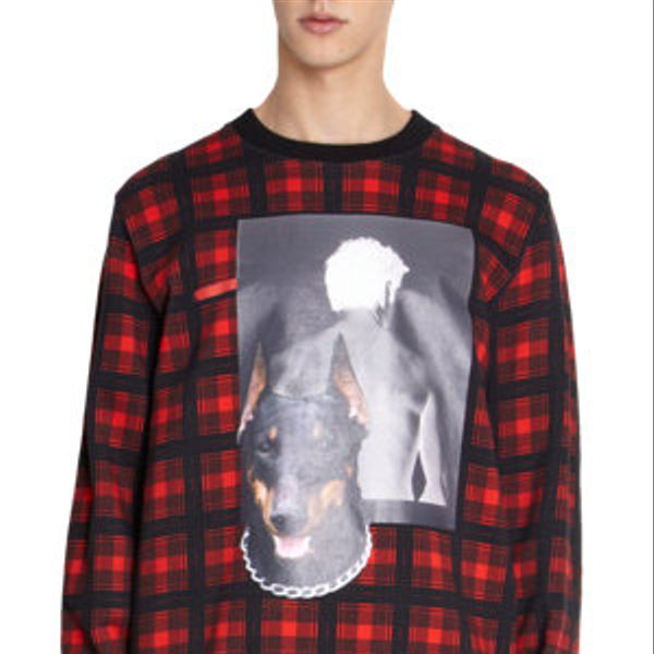 Givenchy  Doberman and Photo Print Tartan Sweatshirt