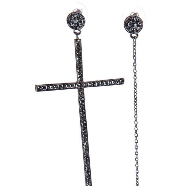 Luxury Fashion  Luxury Fashion Cross Earring Pair ($113) in Black