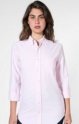 American Apparel   Unisex Stone Wash Oxford Long Sleeve Button-Down With Pocket