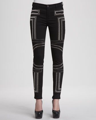 J Brand   Embroidered Power-Stretch Jeans