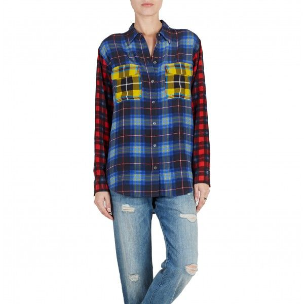 Equipment  Signature with Contrast Multi Punk Plaid