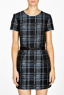 Sea NY  Belted Plaid Dress