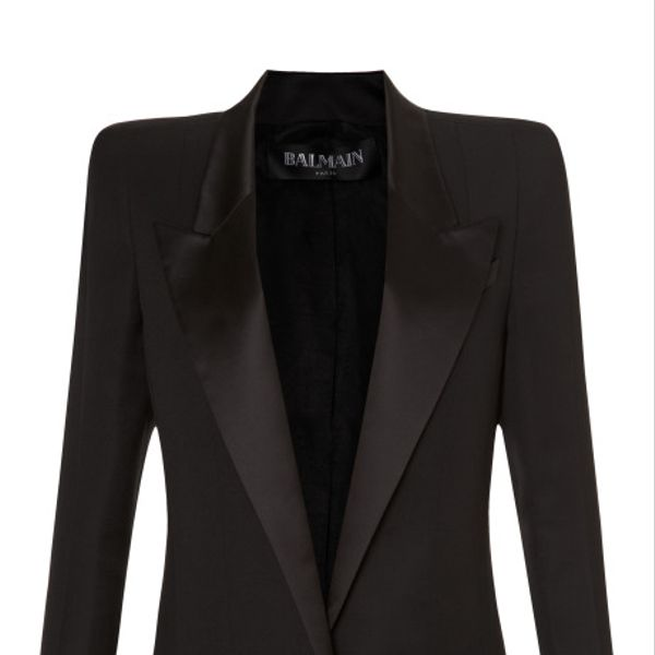 Balmain  Long Square Shoulder Single Button Blazer