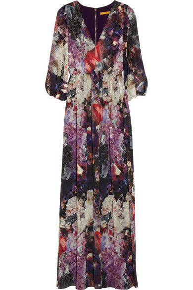 Alice + Olivia  Louisa Printed Crinkled Chiffon Maxi Dress