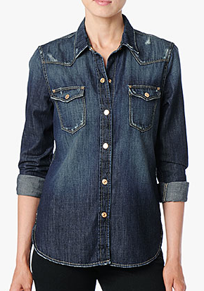 7 For All Mankind  Destroyed Slim Western Shirt