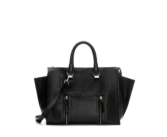 Zara  Leather City Bag with Pocket and Zips