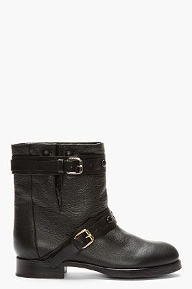 Chloe   Chloe Double Buckle Moto Boots ($1095) in Black