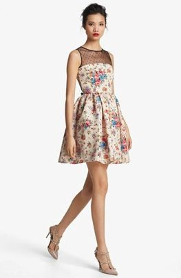 RED Valentino  Flower & Polka Dot Print Dress