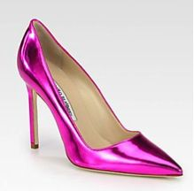Manolo Blahnik  BB Metallic Leather Pumps