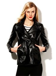 Vince Camuto  Vince Camuto Patent Faux Leather Pea Coat