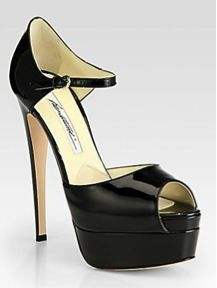 Brian Atwood  Tribeca Patent Leather Platform Sandals