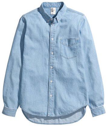 H&M Denim Shirt in Indigo Blue
