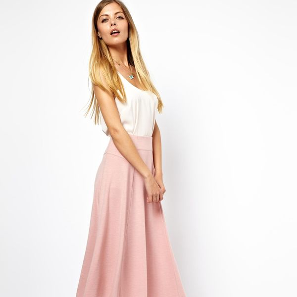 Asos  Asos Midi Skirt with Stitch Waist Detail