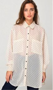 American Apparel  American Apparel Polka Dot Chiffon Oversized Button-Up Shirt