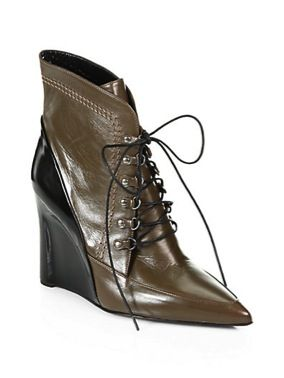Derek Lam  Derek Lam Maxine Bicolor Leather Lace-Up Wedge Ankle Boots