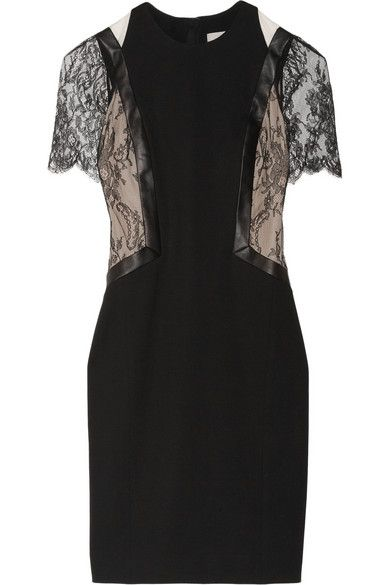 Jason Wu  Leather and Lace-Trimed Stretch-Ponte Dress