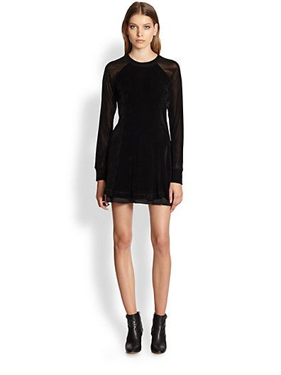 Theysekns' Theory  Chupi Chiffon Raglan-Sleeved Velvet Dress