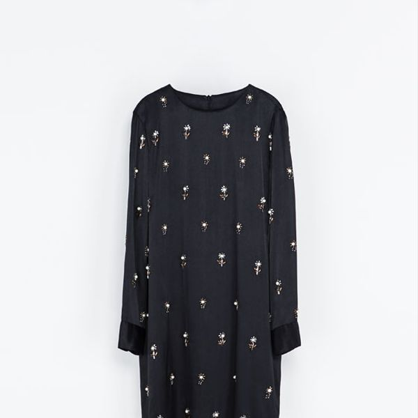 Zara  Embroidered Satin Dress
