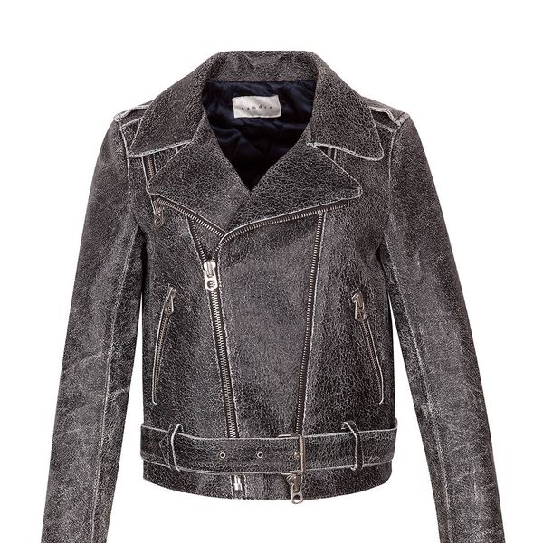 Sandro   Sandro Voltige Crackled Leather Jacket