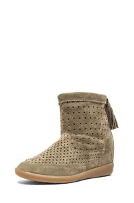 Etoile Isabel Marant  Basley Perforated Suede Wedge Ankle Boots