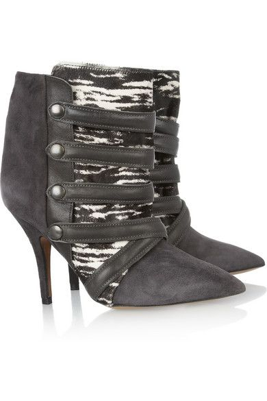 Isabel Marant  Tracy Suede, Printed Calf Hair and Leather Boots