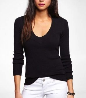 Express  Fitted V-Neck Pullover