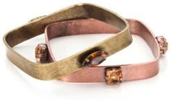 Capwell+Co  Capwell+Co Mixed Metal and Stone Square Bangle Set