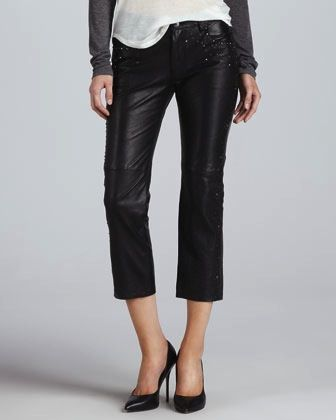 Graham & Spencer  Studded Cropped Leather Pants