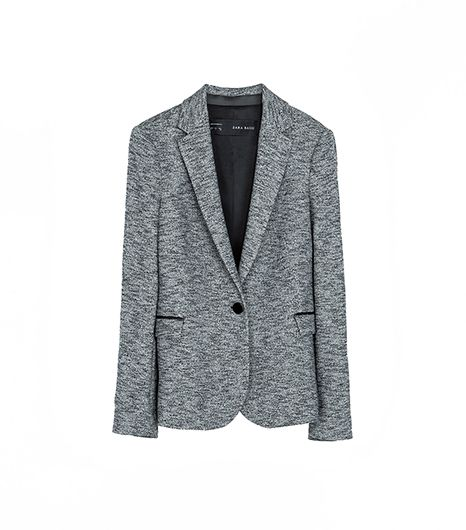 Zara Blazer With Imitation Leather Piping