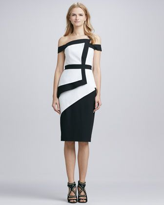 Black Halo  Black Halo La Reina Colorblock Off-The-Shoulder Dress