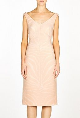 Carven Carven Zebra Textured V-Neck Dress ($792) in Pink