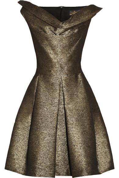 Vivienne Westwood Anglomania  Vivienne Westwood Anglomania Halton Draped Metallic Jacquard Dress