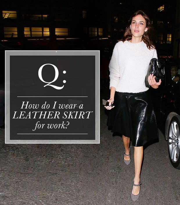 How can I wear a leather skirt for work? | WhoWhatWear