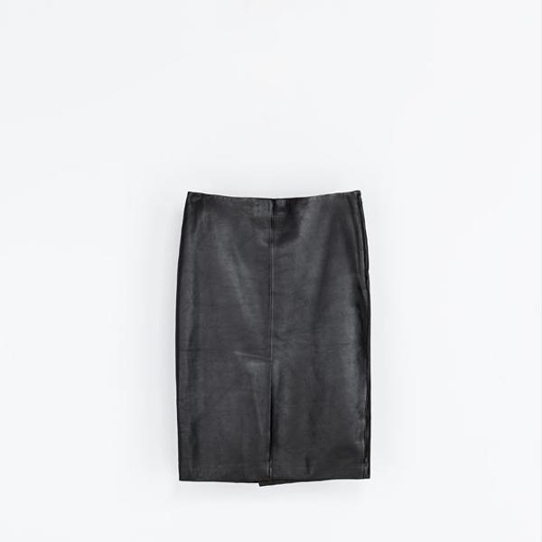 Zara  Straight Leather Midi Skirt