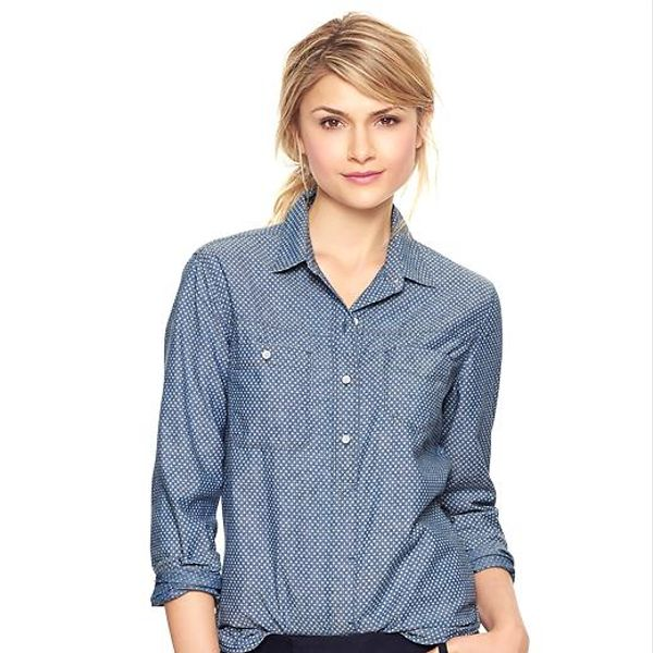 Gap 1969 Asymmetrical Pocket Polka Dot Denim Shirt