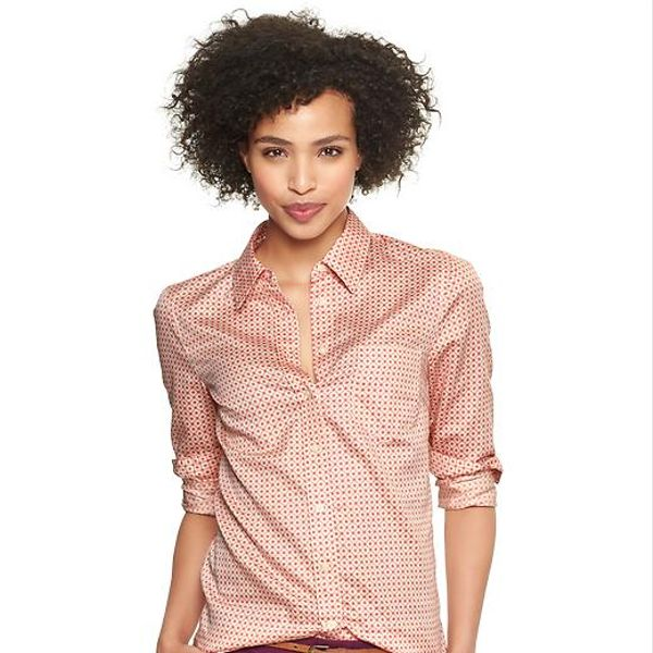 Gap  Fitted Boyfriend Print Shirt