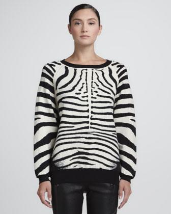 A.L.C.  A.L.C. Zebra Print Knit Sweatshirt