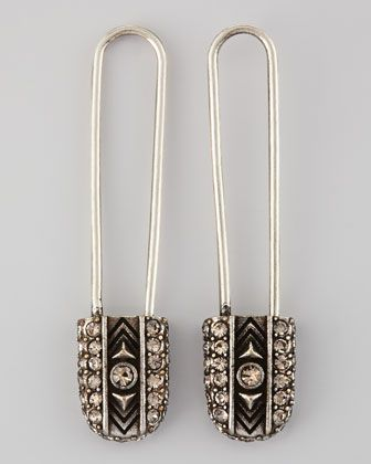 House of Harlow  House of Harlow Crystal Safety Pin Drop Earrings